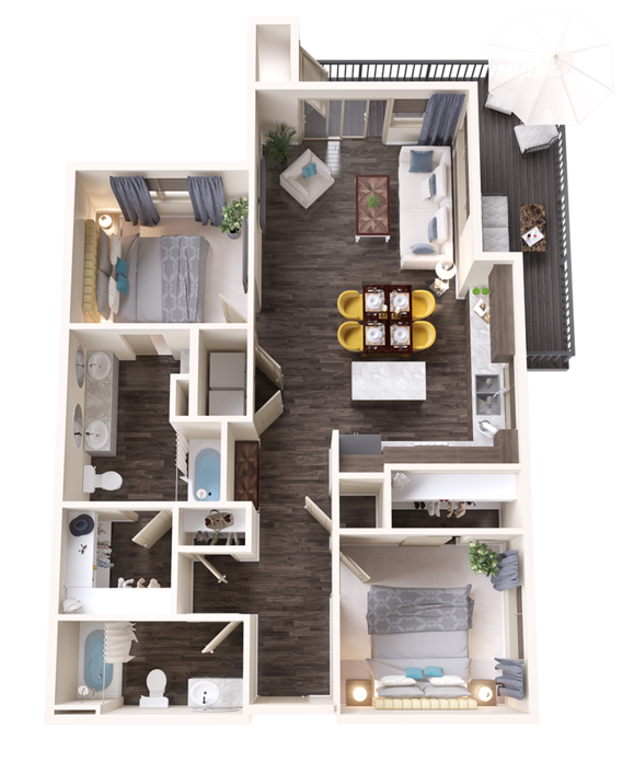A Emerald unit with 2 Bedrooms and 2 Bathrooms with area of 1150 sq. ft