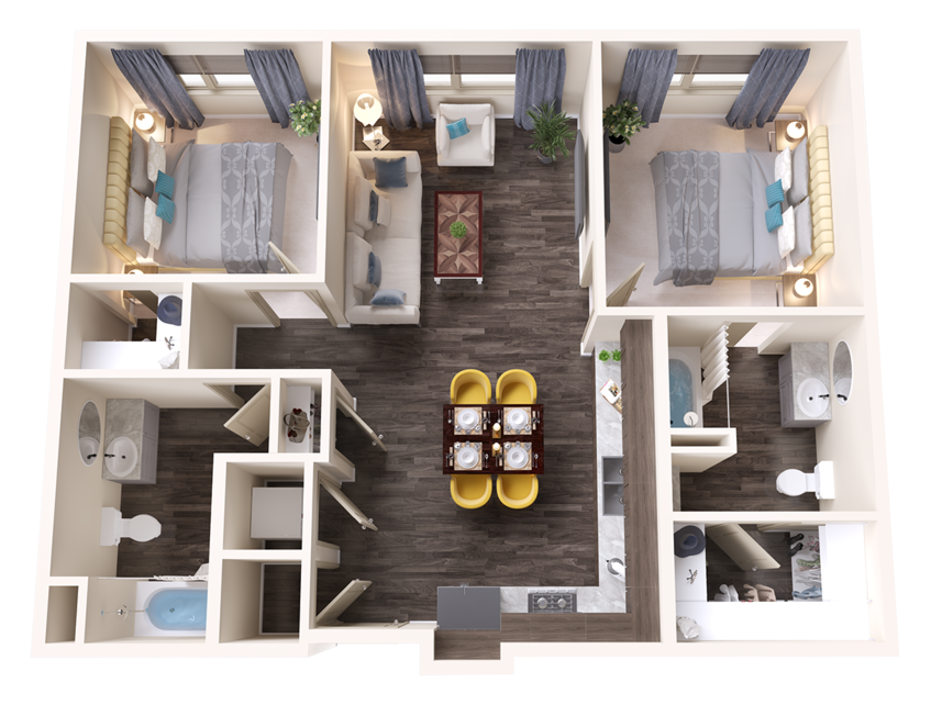 A Jade unit with 2 Bedrooms and 2 Bathrooms with area of 1019 sq. ft