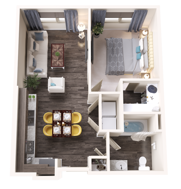 A Garent unit with 1 Bedrooms and 1 Bathrooms with area of 678 sq. ft