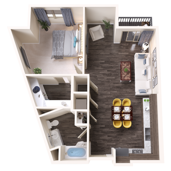 A Quartz unit with 1 Bedrooms and 1 Bathrooms with area of 861 sq. ft