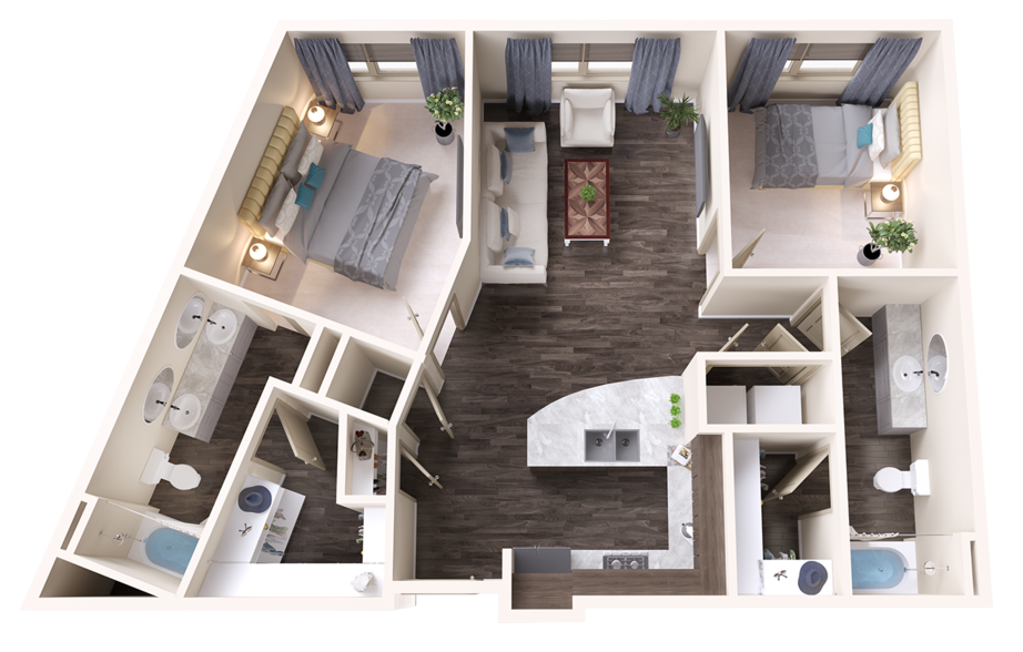 A Ruby unit with 2 Bedrooms and 2 Bathrooms with area of 1076 sq. ft