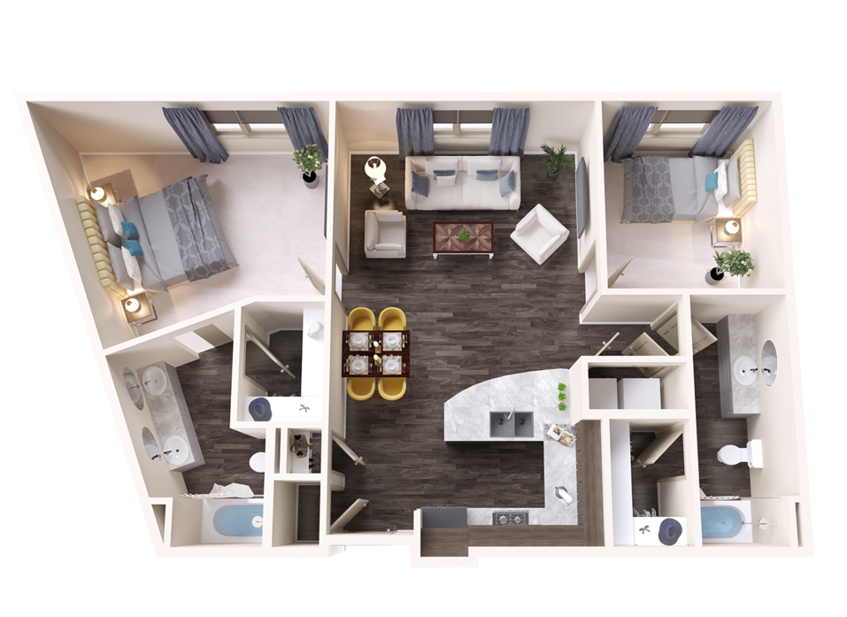 A Sapphire unit with 2 Bedrooms and 2 Bathrooms with area of 1208 sq. ft