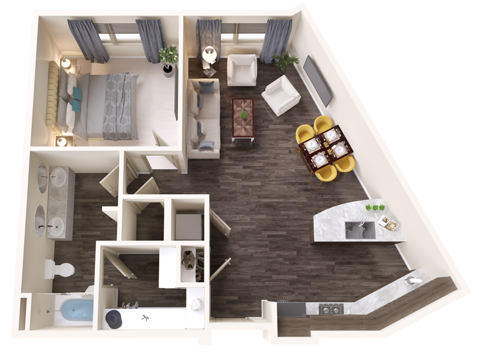 A Topaz unit with 1 Bedrooms and 1 Bathrooms with area of 862 sq. ft
