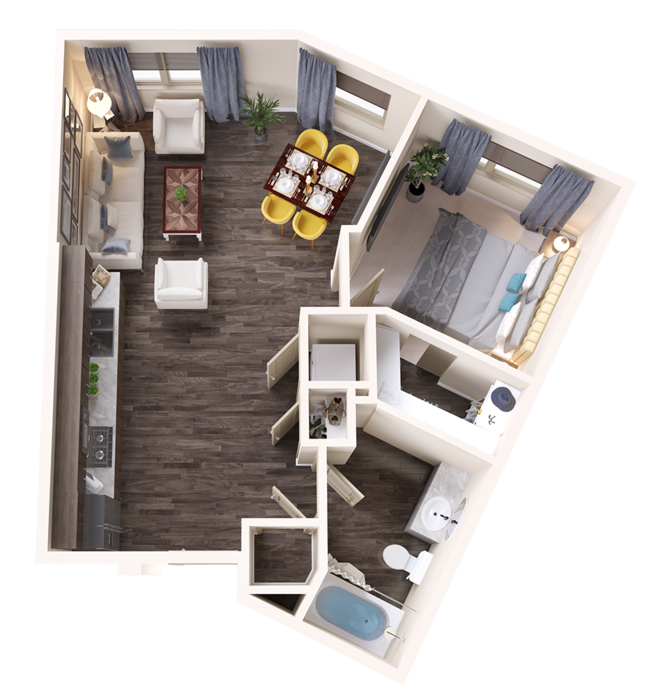 A Turquoise unit with 1 Bedrooms and 1 Bathrooms with area of 732 sq. ft